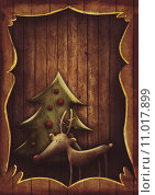 Купить «Christmas card - Rudolph with tree in wooden frame», фото № 11017899, снято 16 июня 2019 г. (c) PantherMedia / Фотобанк Лори
