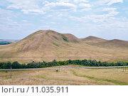 Гора Верблюжка, вид со стороны Долгих гор. Оренбургская область, фото № 11035911, снято 11 июля 2015 г. (c) Вадим Орлов / Фотобанк Лори
