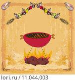 Купить «Stylized yummy shrimp kabob on the grill.», иллюстрация № 11044003 (c) PantherMedia / Фотобанк Лори