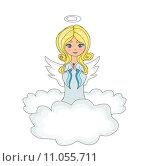 Купить «sweet little girl angel Praying while Kneeling on the Clouds», иллюстрация № 11055711 (c) PantherMedia / Фотобанк Лори