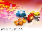 Купить «jigsaw puzzle showing business content», фото № 11061255, снято 21 сентября 2019 г. (c) PantherMedia / Фотобанк Лори