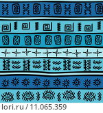 Купить «Seamless with tribal motifs», иллюстрация № 11065359 (c) PantherMedia / Фотобанк Лори
