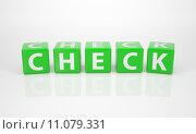 Купить «Check out of green Letter Dices», иллюстрация № 11079331 (c) PantherMedia / Фотобанк Лори