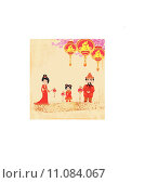 Купить «Mid-Autumn Festival for Chinese New Year , Abstract card with family», иллюстрация № 11084067 (c) PantherMedia / Фотобанк Лори