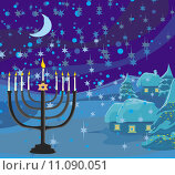 Купить «Winter Christmas scene - hanukkah menorah abstract card», иллюстрация № 11090051 (c) PantherMedia / Фотобанк Лори