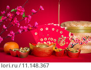 Купить «chinese new year decorations,generci chinese character symbolizes gong xi fa cai without copyright infringement», фото № 11148367, снято 16 июня 2019 г. (c) PantherMedia / Фотобанк Лори