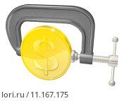 Купить «Gold coin in clamp concept», иллюстрация № 11167175 (c) PantherMedia / Фотобанк Лори