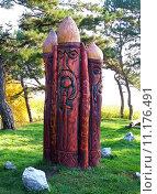 Купить «Three Slavonic Idols Carved of the Wooden», фото № 11176491, снято 22 июля 2018 г. (c) PantherMedia / Фотобанк Лори