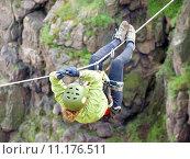 Купить «tyrolean traverse», фото № 11176511, снято 23 мая 2019 г. (c) PantherMedia / Фотобанк Лори