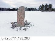 Купить «Runestone in the snow», фото № 11183283, снято 20 мая 2019 г. (c) PantherMedia / Фотобанк Лори