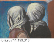 Купить «lovers kiss, pastel drawing reproduction», фото № 11199315, снято 27 апреля 2018 г. (c) PantherMedia / Фотобанк Лори