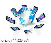 Купить «Smartphones Around World Globe, Global Communication», иллюстрация № 11225351 (c) PantherMedia / Фотобанк Лори