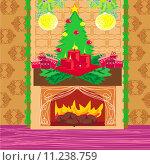 Купить «Christmas room with fireplace», иллюстрация № 11238759 (c) PantherMedia / Фотобанк Лори