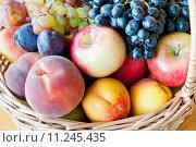 Купить «Спелые фрукты в корзинке: яблоко, груша, персик, виноград, слива, нектарин», фото № 11245435, снято 23 августа 2015 г. (c) E. O. / Фотобанк Лори