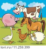 Купить «cartoon farm animals group», иллюстрация № 11259399 (c) PantherMedia / Фотобанк Лори