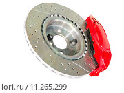 Купить «Assembled caliper disc and pads of car brake system», фото № 11265299, снято 24 августа 2019 г. (c) PantherMedia / Фотобанк Лори
