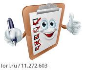 Купить «Thumbs up survey man and pen», иллюстрация № 11272603 (c) PantherMedia / Фотобанк Лори