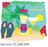 Купить «vector summer background with palm trees  and fruity drink», иллюстрация № 11289959 (c) PantherMedia / Фотобанк Лори