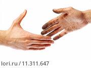 Купить «Dirty handshake», фото № 11311647, снято 20 октября 2018 г. (c) PantherMedia / Фотобанк Лори