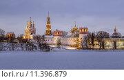 Купить «Новодевичий монастырь зимним вечером», фото № 11396879, снято 25 января 2014 г. (c) Соболев Игорь / Фотобанк Лори
