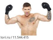 Купить «Attractive young boxer posing strongly», фото № 11544415, снято 19 января 2020 г. (c) PantherMedia / Фотобанк Лори