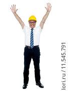 Купить «Contemporary construction engineer celebrating his success», фото № 11545791, снято 18 февраля 2020 г. (c) PantherMedia / Фотобанк Лори