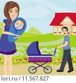 Купить «family walk sunny day baby», иллюстрация № 11567827 (c) PantherMedia / Фотобанк Лори