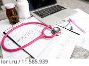 Купить «stethoscope and labtop and other medical object», фото № 11585939, снято 20 апреля 2018 г. (c) PantherMedia / Фотобанк Лори