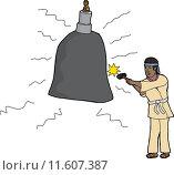 Купить «Asian Man Hitting Bell», иллюстрация № 11607387 (c) PantherMedia / Фотобанк Лори