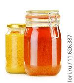 Купить «Composition with jar of honey isolated on white», фото № 11626387, снято 24 мая 2019 г. (c) PantherMedia / Фотобанк Лори
