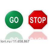 Купить «road signage go and stop», фото № 11658867, снято 15 декабря 2018 г. (c) PantherMedia / Фотобанк Лори
