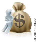 Купить «Person and money sack», иллюстрация № 11691751 (c) PantherMedia / Фотобанк Лори