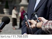 Купить «A journalist is making an interview with a microphone», фото № 11768035, снято 20 сентября 2019 г. (c) PantherMedia / Фотобанк Лори