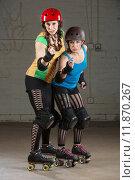 Купить «Roller Derby Skaters in Pointing Finger», фото № 11870267, снято 10 июля 2020 г. (c) PantherMedia / Фотобанк Лори