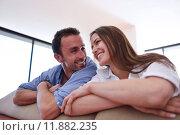 Купить «relaxed young couple at home», фото № 11882235, снято 20 сентября 2019 г. (c) PantherMedia / Фотобанк Лори