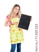 Купить «Beautiful woman with apron and menu bord», фото № 11929323, снято 19 января 2019 г. (c) PantherMedia / Фотобанк Лори