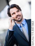 Купить «man outdoors outdoor business suit», фото № 11937563, снято 21 июля 2019 г. (c) PantherMedia / Фотобанк Лори