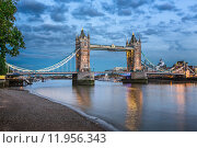 Купить «Thames River and Tower Bridge at the Evening, London, United Kingdom», фото № 11956343, снято 24 января 2019 г. (c) PantherMedia / Фотобанк Лори