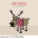 Купить «Merry Christmas and happy new year hipster reindeer», иллюстрация № 11970035 (c) PantherMedia / Фотобанк Лори