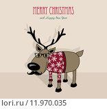 Купить «Merry Christmas and happy new year hipster reindeer», иллюстрация № 11970035 (c) PantherMedia / Фотобанк Лори