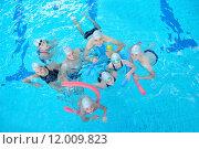 Купить «children group  at swimming pool», фото № 12009823, снято 19 сентября 2019 г. (c) PantherMedia / Фотобанк Лори