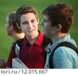 Купить «Two Teen Boys Talking», фото № 12015667, снято 10 июля 2020 г. (c) PantherMedia / Фотобанк Лори