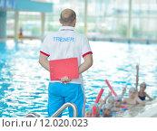 Купить «children group  at swimming pool», фото № 12020023, снято 19 сентября 2019 г. (c) PantherMedia / Фотобанк Лори