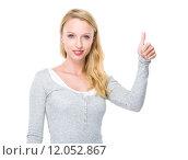 Купить «Caucasian woman with thumb up», фото № 12052867, снято 26 апреля 2019 г. (c) PantherMedia / Фотобанк Лори