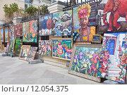 Купить «Выставка-вернисаж картин», фото № 12054375, снято 28 августа 2015 г. (c) Victoria Demidova / Фотобанк Лори