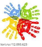 Купить «Разноцветные отпечатки  ладоней», иллюстрация № 12093623 (c) Павлов Максим / Фотобанк Лори