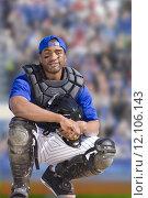 Купить «Portrait of smiling baseball catcher», фото № 12106143, снято 15 декабря 2017 г. (c) PantherMedia / Фотобанк Лори