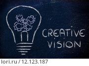 Купить «gearwheels inside lightbulb,creative business vision», фото № 12123187, снято 15 октября 2018 г. (c) PantherMedia / Фотобанк Лори