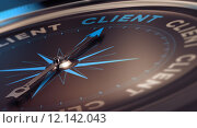 Купить «Compass with needle pointing the word client, concept image to illustrate CRM, customer relationship management.», фото № 12142043, снято 21 октября 2018 г. (c) PantherMedia / Фотобанк Лори