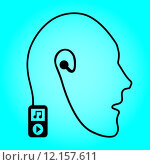 Купить «Mobile music technology human connection. Abstraction - music player and headphones in the form of the head. Vector ilustration EPS10», иллюстрация № 12157611 (c) PantherMedia / Фотобанк Лори